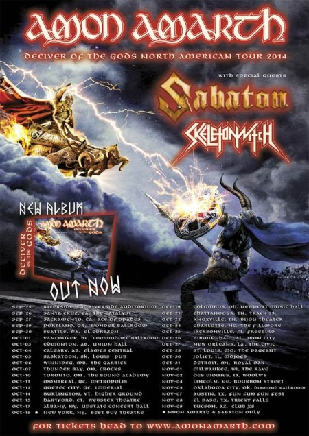 Amon Amarth - North American Fall Tour - 2014 - promo flyer - Sabaton