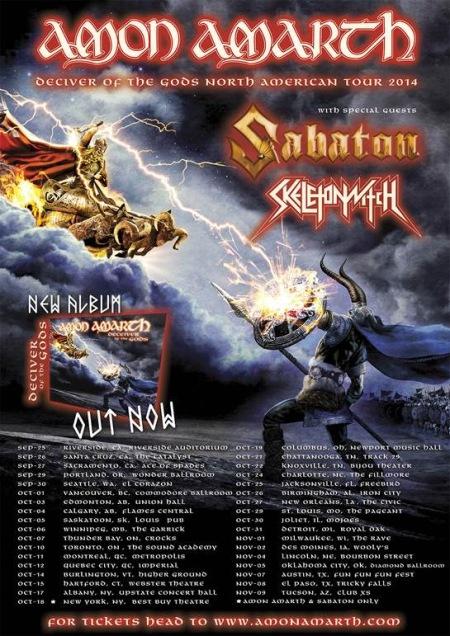 Amon Amarth - North American Fall Tour - 2014 - promo flyer - Sabaton