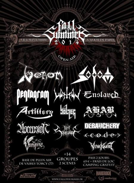 Fall Of Summer Festival - 2014 - promo flyer - venom sodom