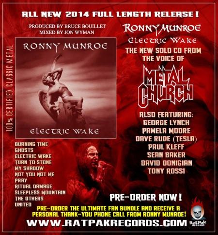 Ronny Munroe - Electric Wake - promo album flyer - rat pak records - 2014
