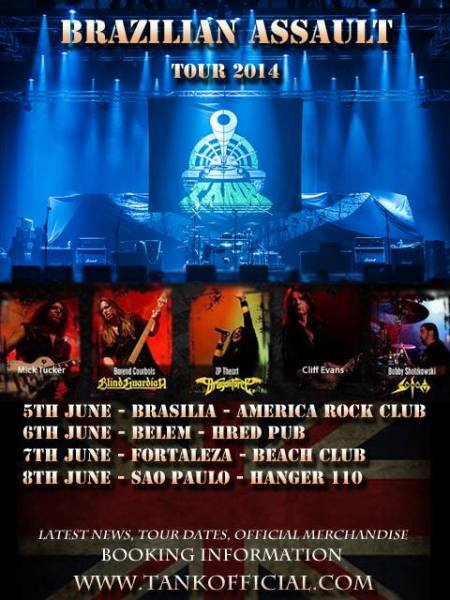 Tank Brazilian Assault Tour - June 2014 - promo flyer