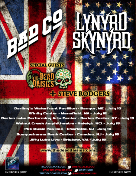 The Dead Daisies - Bad Company - Lynyrd Skynyrd - promo tour flyer - US - 2014
