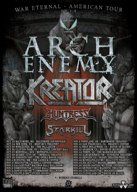 Arch Enemy - Kreator - war eternal - American tour - promo flyer - 2014