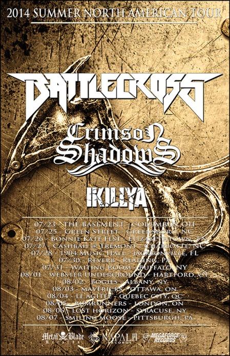 Battlecross - Crimson Shadows - Summer 2014 - Tour Promo Flyer