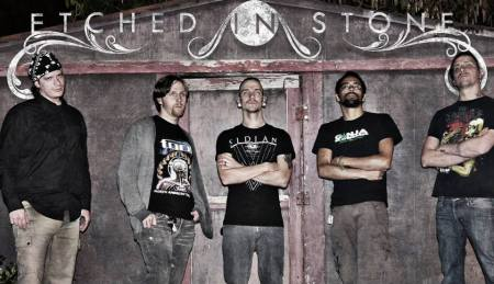 Etched In Stone - promo band pic - band logo - 2014