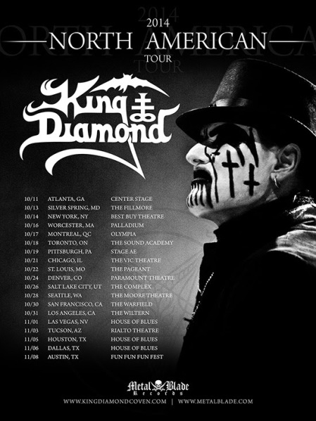 King Diamond - North American Tour - 2014 - promo flyer