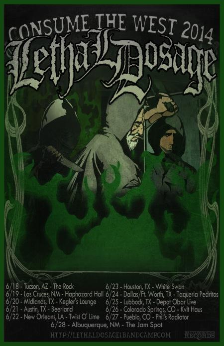 Lethal Dosage - Consume The West Tour - promo flyer - 2014