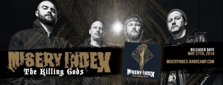 Misery Index - The Killing Gods - promo album - band banner - 2014