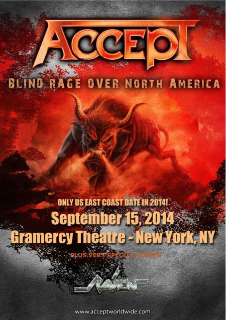 Accept - Raven - promo tour poster - Gramercy Theatre - New York - 2014