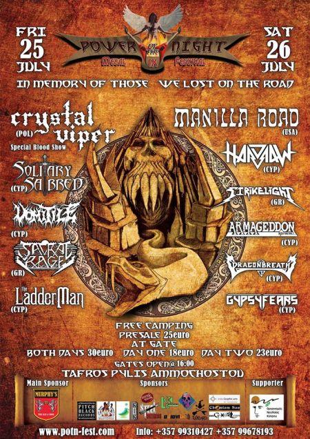 Crystal Viper - Power Night Metal Festival - promo tour flyer - 2014