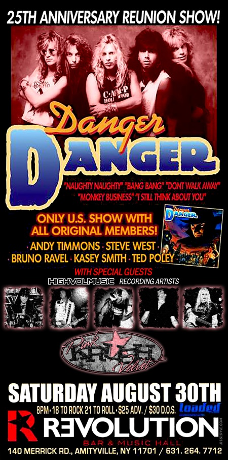 Danger Danger - Pink Velvet Krush - promo concert flyer - 2014