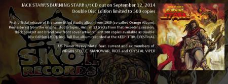 Jack Starr's Burning Starr - promo album banner - 1989 album - 2014 - skol records