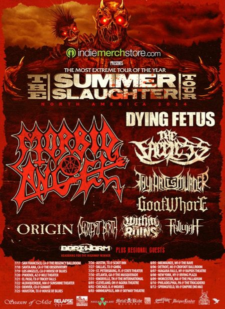 The Summer Slaughter Tour - North America 2014 - promo flyer