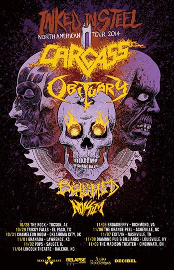 Carcass - Obituary - Promo Tour Flyer - Inked In Steel - 2014