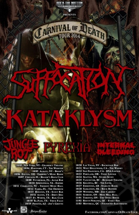 Carnival Of Death - Suffocation - Kataklysm - promo flyer - 2014 - internal bleeding