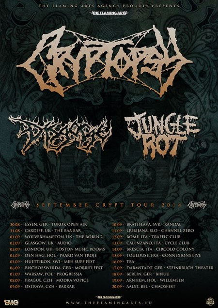Cryptopsy - European Tour - 2014 - promo flyer