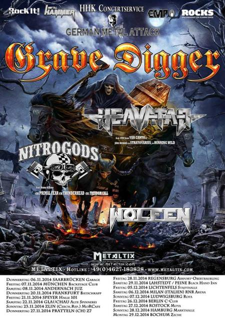Grave Digger - German Metal Attack - promo tour flyer - winter - 2014