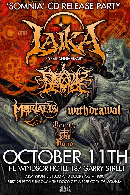 Laika - Somnia - Release Party - September 2014 - flyer