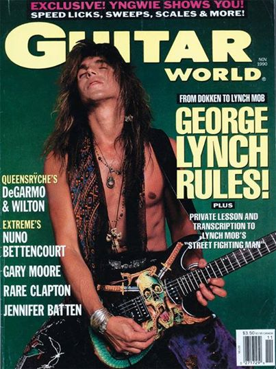 George Lynch - Guitar World Mag cover promo - 1990