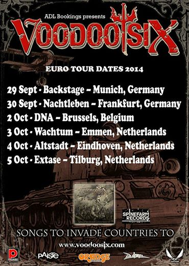 Voodoo Six - Euro Tour Dates - 2014 - Sept - Oct promo flyer