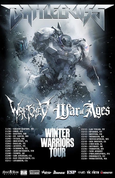 Battlecross - Wretched - Winter Warriors Headlining Tour - promo flyer - 2014