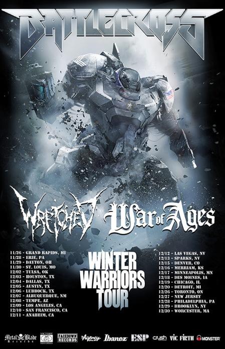 Battlecross - Wretched - Winter Warriors Headlining Tour - promo flyer - 2014