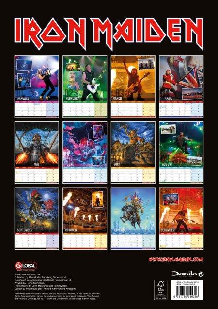 Iron Maiden - 2015 Wall Calendar - Back Cover promo - 2015