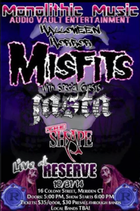 Misfits - Jasta - The Reserve - Meriden - CT - concert promo flyer - Oct 31- 2014