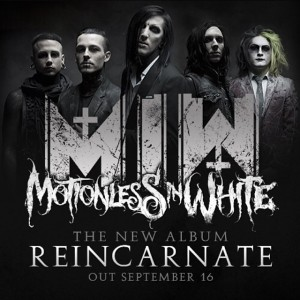Motionless In White - promo band pic - album release flyer - reincarnate - 2014