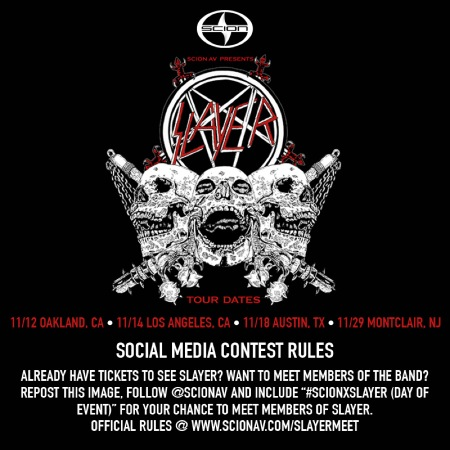 SLAYER - Scion VIP Giveaway - October 16 - 2014 promo flyer