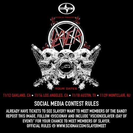 SLAYER - Scion VIP Giveaway - October 16 - 2014 promo flyer