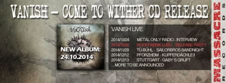 Vanish - Come To Wither - promo album banner - cd release - 2014