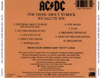ACDC - For Those About To Rock We Salute You - CD back cover - promo pic - #1981AY