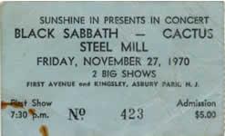 Black Sabbath - Cactus - Steel Mill - original concert ticket stub - November 27 - 1979