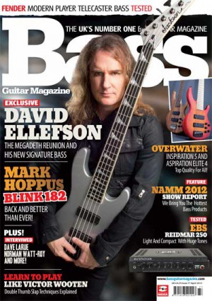 David Ellefson - Bass Magazine - promo cover - April - 2012 - #101