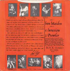 Iron Maiden - The Soundhouse Tapes - Debut EP - back cover promo pic - #1979PD