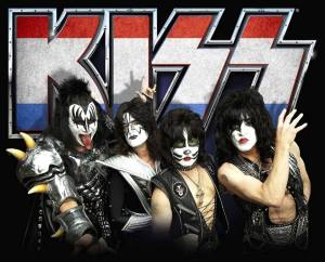 KISS - publicity band photo - red white blue Kiss logo - 2014