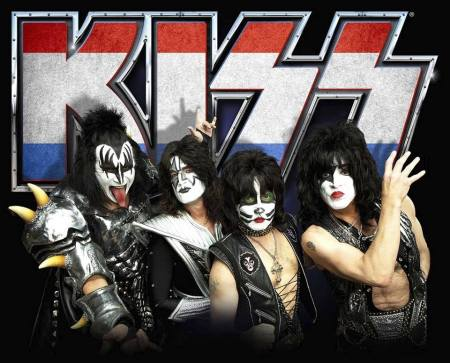 KISS - publicity band photo - red white blue Kiss logo - 2014
