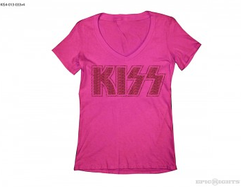 KISS - womens pink v neck - glitter tour tee - #2014GS