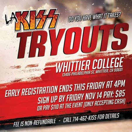LA KISS - November 2014 - Tryouts - Whittier College - promo flyer