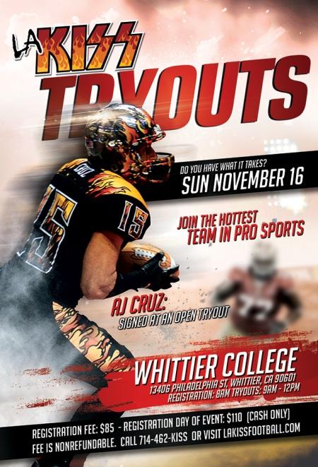 LA KISS - Tryouts - November 16 - 2014 - promo flyer - AJ Cruz