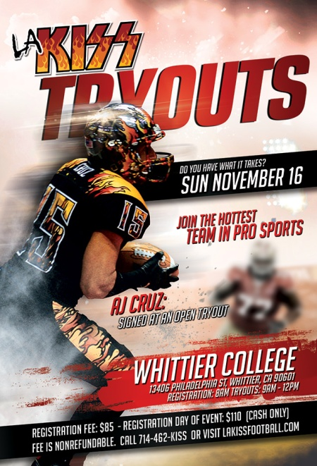 LA KISS - Tryouts - November 16 - 2014 - promo flyer - AJ Cruz