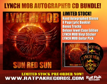 Lynch Mob - Sun Red Sun - promo autographed CD bundle -flyer pic - 2014