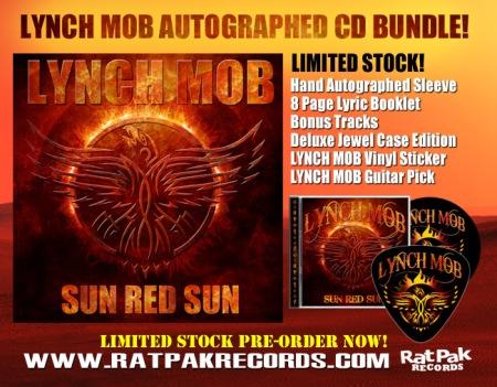 Lynch Mob - Sun Red Sun - promo autographed CD bundle -flyer pic - 2014