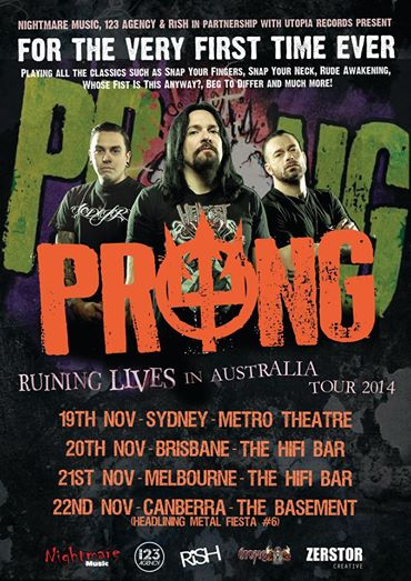 Prong - Ruining Lives In Australia - 2014 Tour promo flyer - November