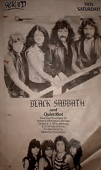 Quiet Riot - Black Sabbath - promo concert flyer - November 26, 1983