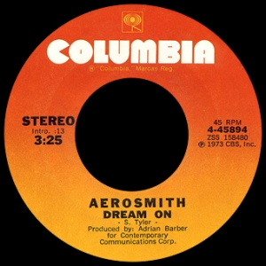 Aerosmith - Dream On - 45rpm - single - promo pic - #1973AST