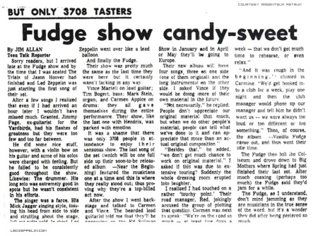 Led Zeppelin - Vanilla Fudge concert review - 1968 - Jim Allan - promo pic