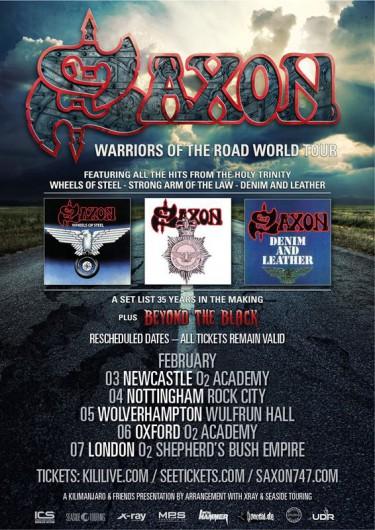 Saxon - Warriors Of The World Tour - rescheduled dates - february 2015