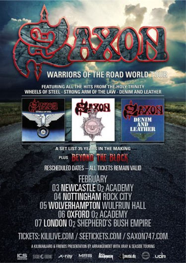 Saxon - Warriors Of The World Tour - rescheduled dates - february 2015